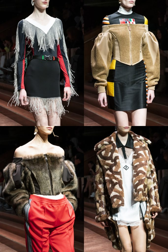 "Tisci said he's always conscious that he's talking to ""two different types of public, price-wise as well and as well need-wise. A mature person has a different need than someone from a young generation."" That explains why the other half of the collection was aimed at the international sophisticate, with lots of tailoring for men and women, including a snappy wool peacoat skirt suit and a sculptural pea green coat with a Sixties feel. There were trench coats with branded blankets and scarves draped across the back and skirts galore in leather, or with silk pleats and sequins. Tisci's got a great big balancing act on his hands, with stores around the world still to be refurbished and a new exclusive with Barneys New York, not to mention those streetwise drops that are keeping the kids — many in Asia — happy on the 17th of every month. ""For me, Burberry is a lifestyle, it's not a fashion label and it represents a country,"" said Tisci. Is he there yet? No — but he's on his way."