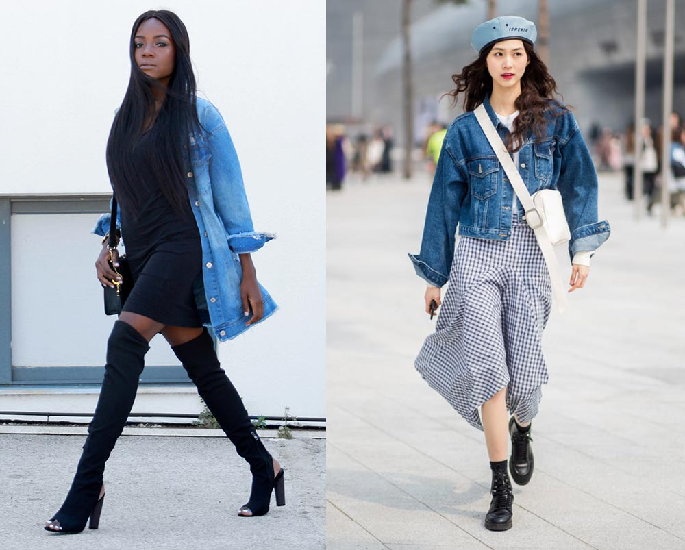 Cách phối đồ với áo khoác denim giúp bạn trông nữ tính.
