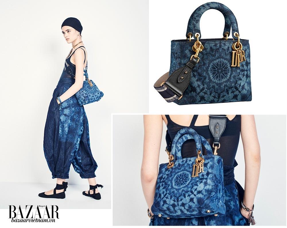 Túi Lady Dior Kaleidoscopique bằng jeans, in tay họa tiết màu loang