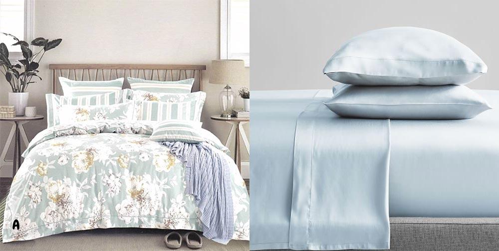 Chất liệu Tencel được ưa chuộng để làm bộ trải giường ở xứ nóng. Trái: Một thiết kế Indonesia. Phải: Sản phẩm của West Elm.