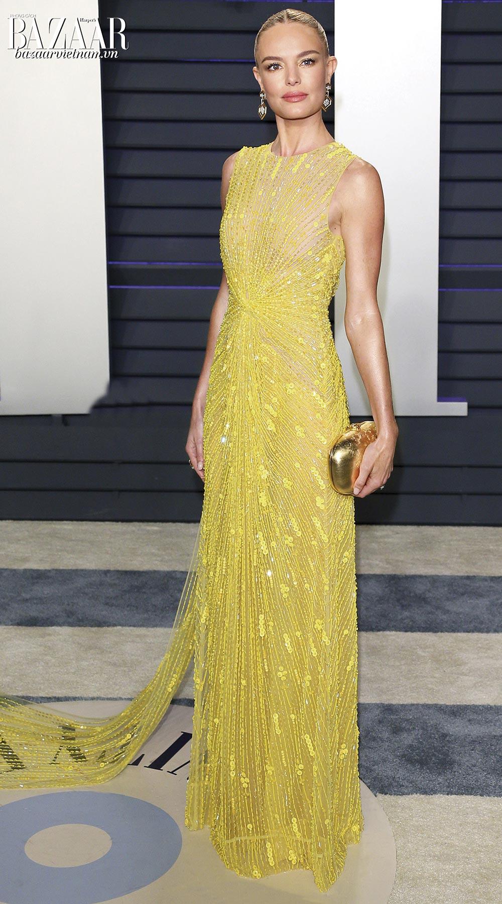 Nữ diễn viên Kate Bosworth mặc trang phục của nhà thiết kế Công Trí trên thảm đỏ Oscar 2019