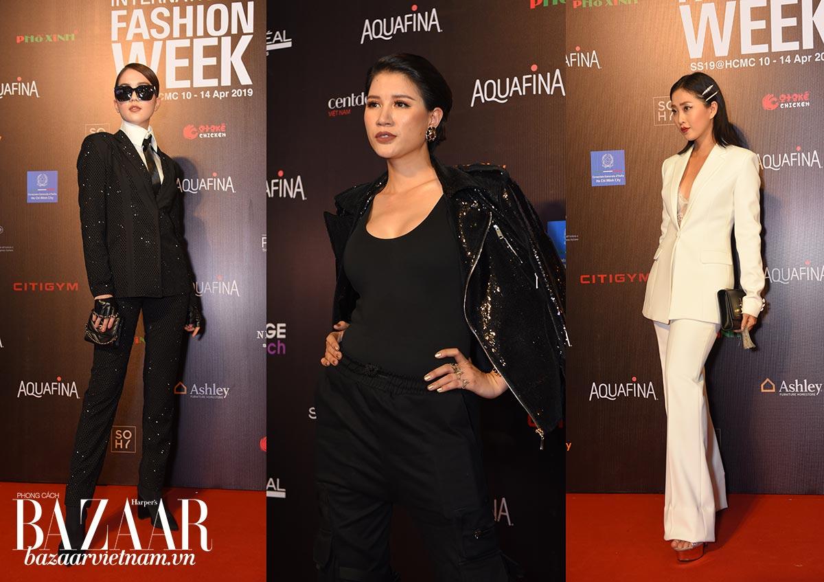 Trang Trần, Ngọc Trinh, trong thiết kế menswear trên thảm đỏ AVIFW SS 2019