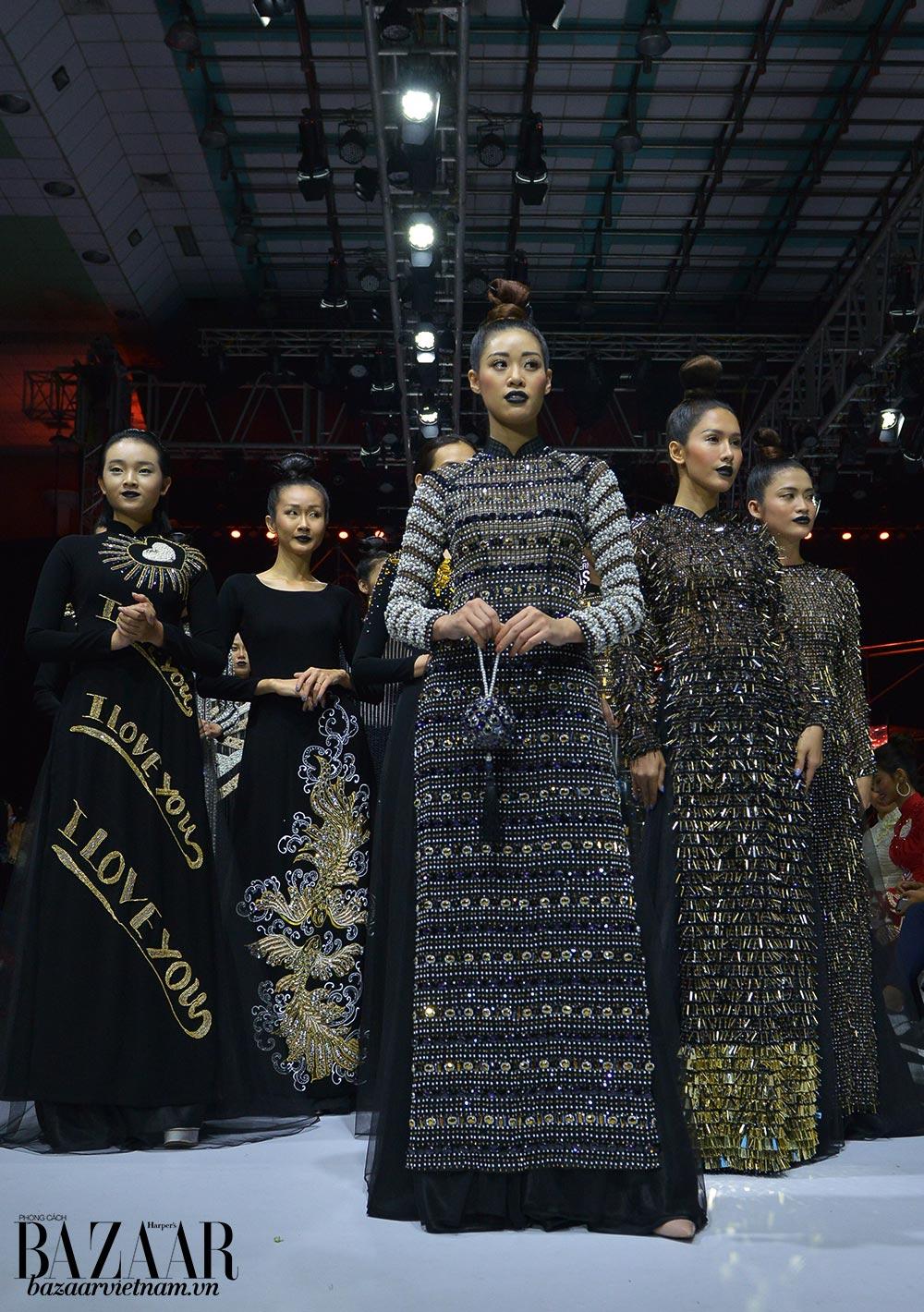 Những mẫu thiết kế áo dài đính kết lấp lánh của thương hiệu áo dài Minh Châu