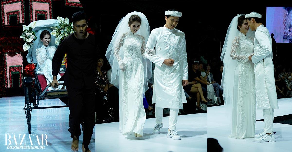 Ngọc Trinh mặc áo dài cưới màu trắng tinh khôi trong show áo dài Bảo Bảo tại AVIFW SS 2019
