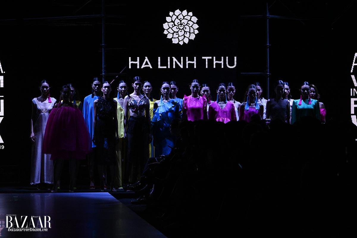 Hiệu ứng ánh sáng ma mị làm nổi bật màu sắc rực rỡ của BST Hà Linh Thư tại AVIFW Xuân Hè 2019