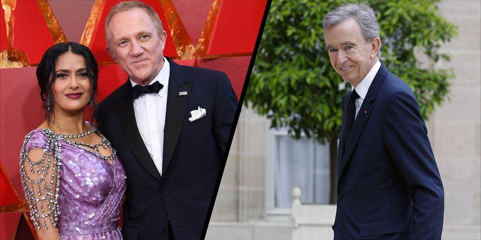 Trái: Ông Francois Pinault và vợ Salma Hayek. Phải: Ông Bernard Arnault, chủ tịch kiêm CEO LVMH. Nguồn ảnh: Harper's Bazaar UK