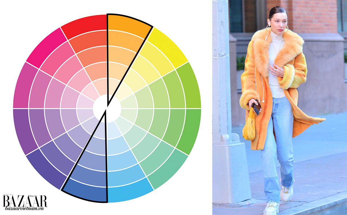 Cách phối đồ theo bánh xe màu sắc 2: Tương phản (Complementary)