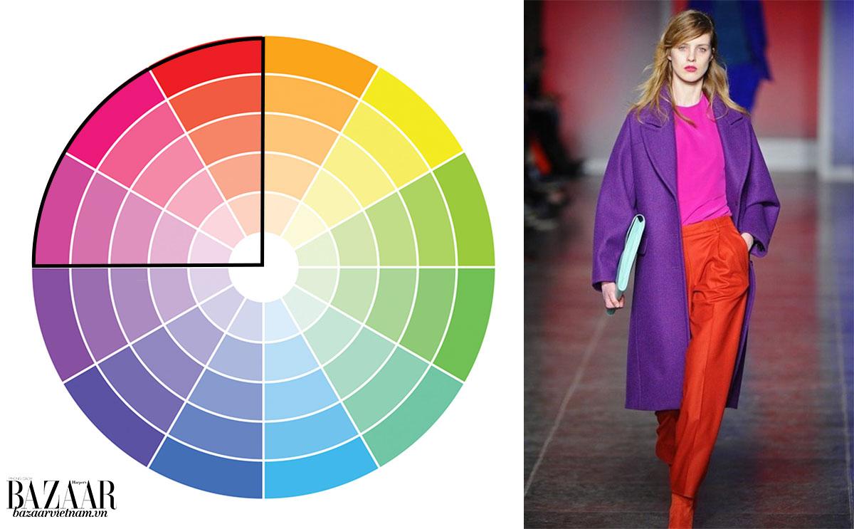 Cách phối đồ theo bánh xe màu sắc 3: Liền kề (analogous)