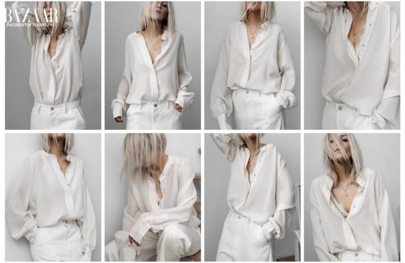 Cách phối đồ màu trắng theo phong cách white-on-white tạo cảm giác thoáng mát cho mùa hè