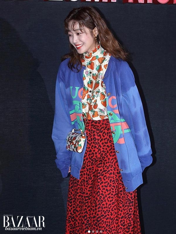 Diễn viên Hàn Quốc Jo Bo-Ah, túi Gucci Zumi, Instagram 03/2019