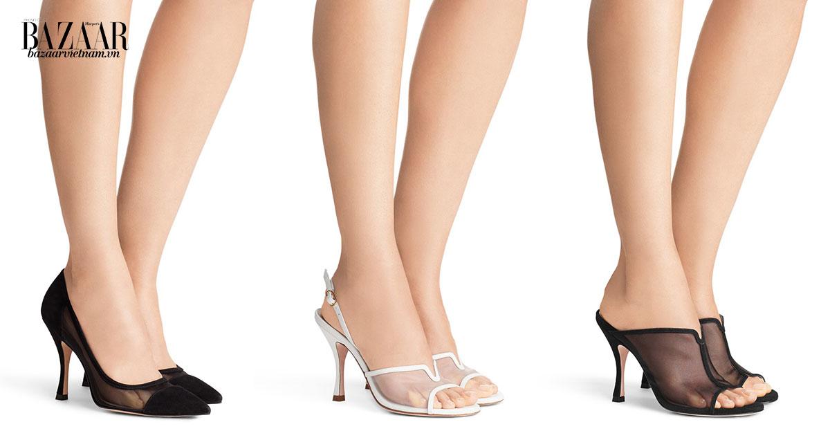 Từ trái sang: Giày Monroe, Mesha và Mya của Stuart Weitzman mùa Xuân Hè 2019