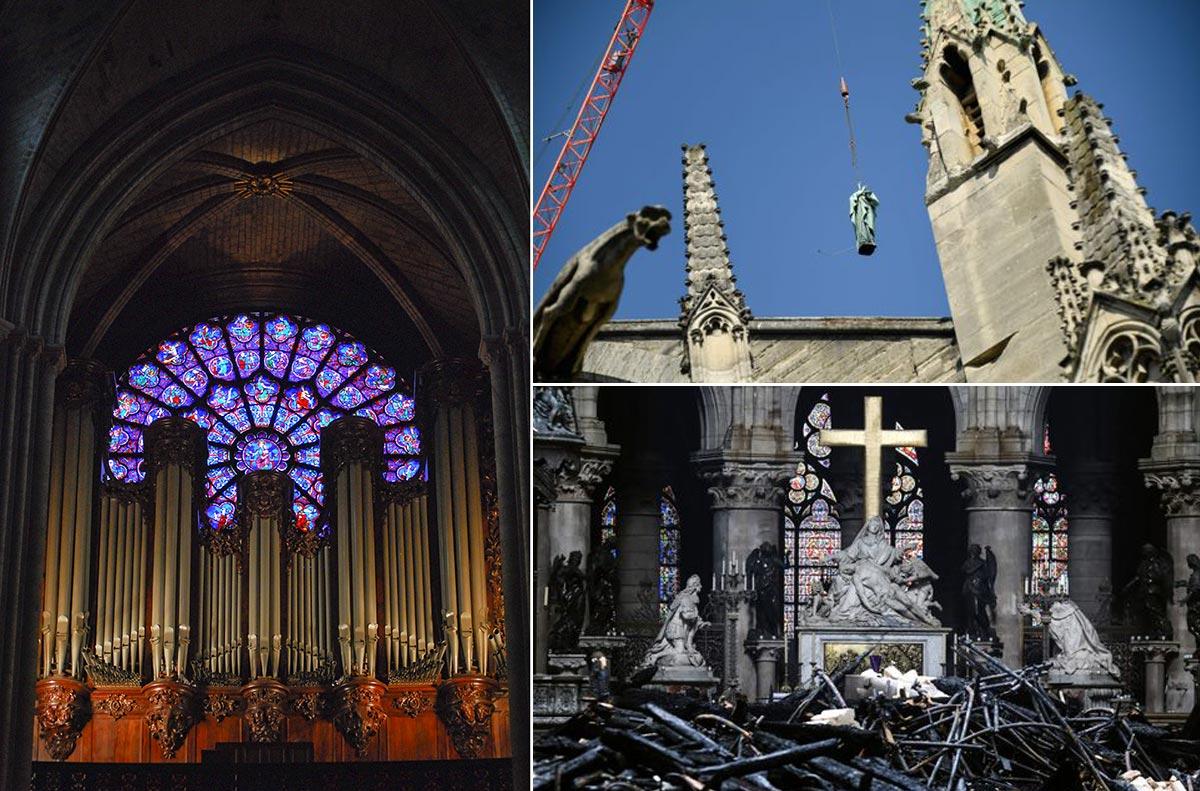 Trái: Chiếc đàn organ trước cửa sổ Hoa hồng của Notre Dame. Phải: Chiếc tượng đồng 12 sứ đồ được tháo dỡ trước khi hỏa hoạn xảy ra. Sau hỏa hoạn, tượng đá cẩm thạch ở bệ thờ vẫn nguyên vẹn.