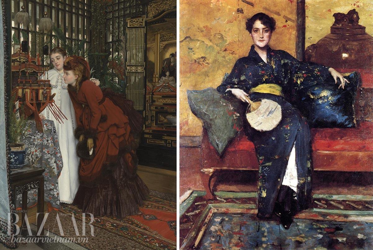 Lịch sử kimono: Kimono trong tranh vẽ. Tranh sơn dầu Japonism dans la mode từ William Merritt Chase, James Tissot
