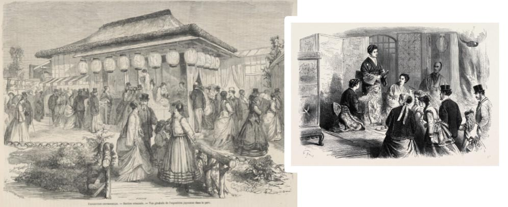 Tranh minh họa sự hấp dẫn của văn hóa Nhật tại Triển lãm thế giới ở Pháp năm 1867. Trái: Người nườm nượp tham quan gian hàng Nhật. Phải: Phụ nữ Nhật mặc kimono diễn thuyết tại triển lãm
