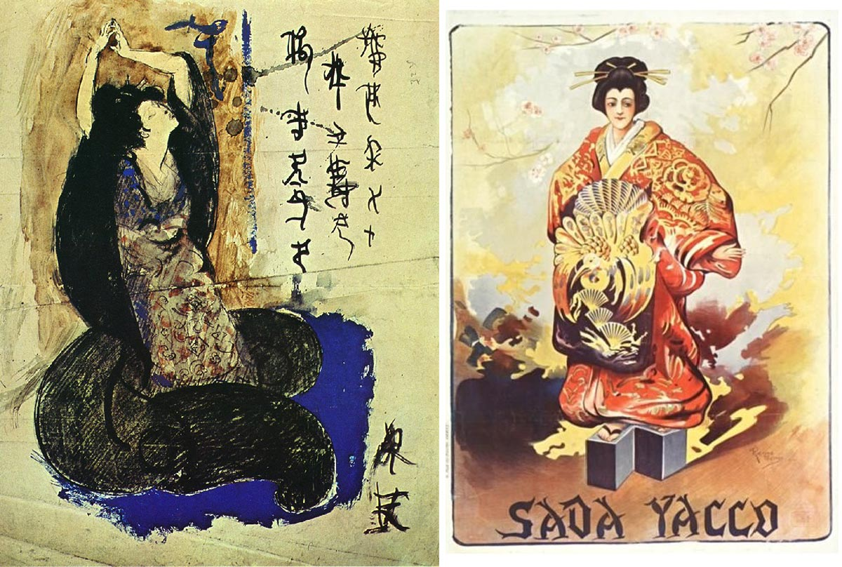 Trái: Sadayakko trong tranh gouache từ danh họa Picasso. Phải: Poster lithographe cho tour diễn của Sadayakko do Raymond Tournon thiết kế.