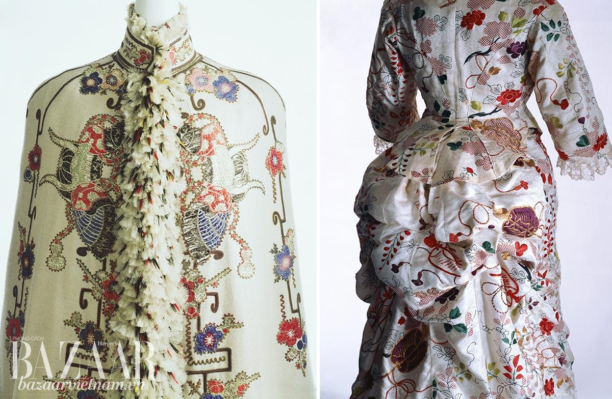 Lịch sử Kimono: Trái: Áo khoác bằng lụa twill, thêu họa tiết Nhật, đính lông vũ. Thiết kế Pháp những năm 1890. Chiếc áo khoác được dệt từ vải Pháp mô phỏng hoa văn Nhật. Phải: Váy đầm tái sử dụng vải lụa satin từ kimono. Thương hiệu Turner, Anh Quốc, những năm 1870.