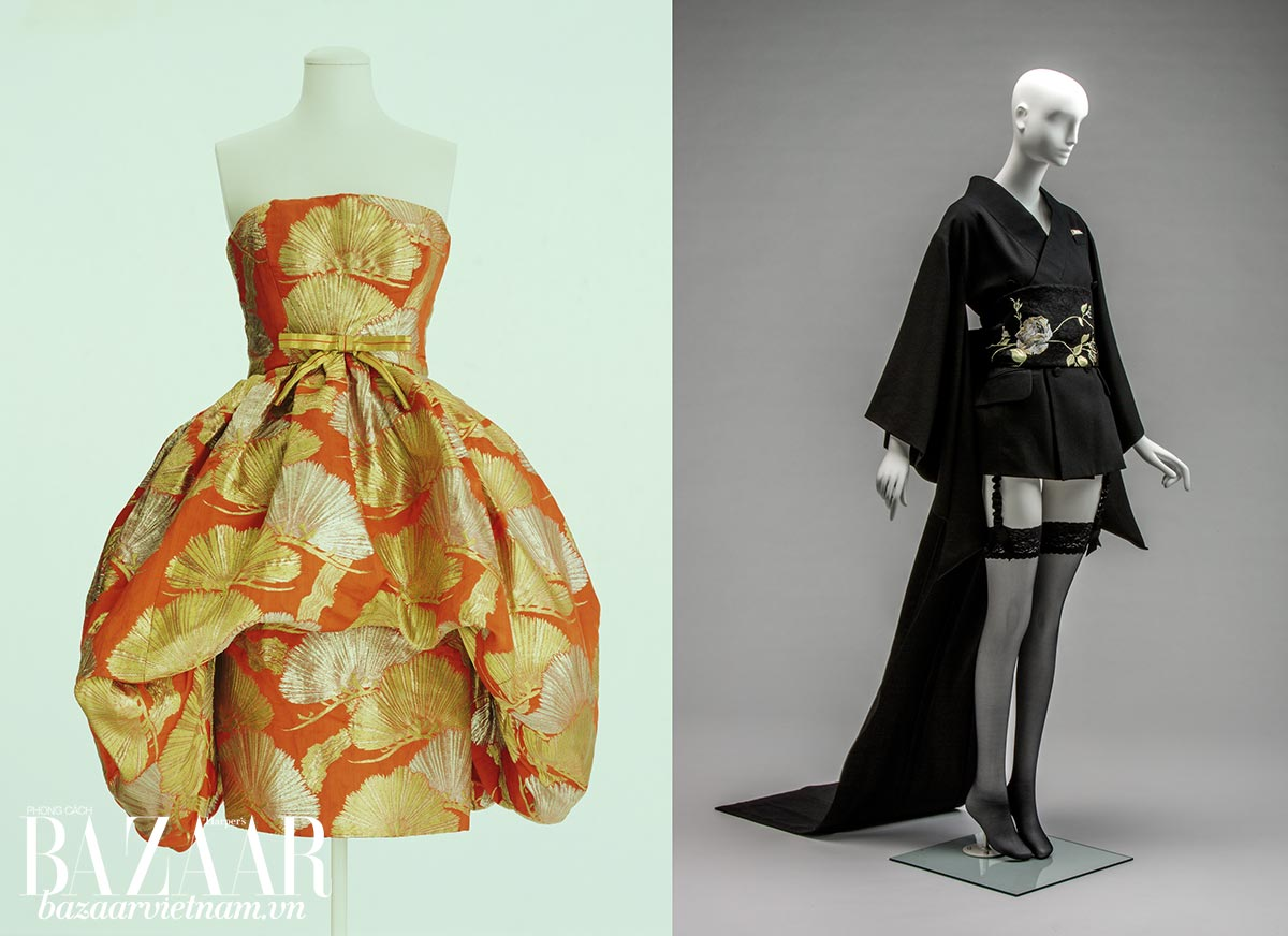 Lịch sử kimono: Trái: Một thiết kế của Yves Saint Laurent cho Dior, Xuân Hè 1960. Đây là chiếc váy thuộc bộ sưu tập dành riêng cho Salon Daimaru ở Nhật. Phải: Một mẫu thiết kế của John Galliano trong bộ sưu tập Thu Đông 1994.