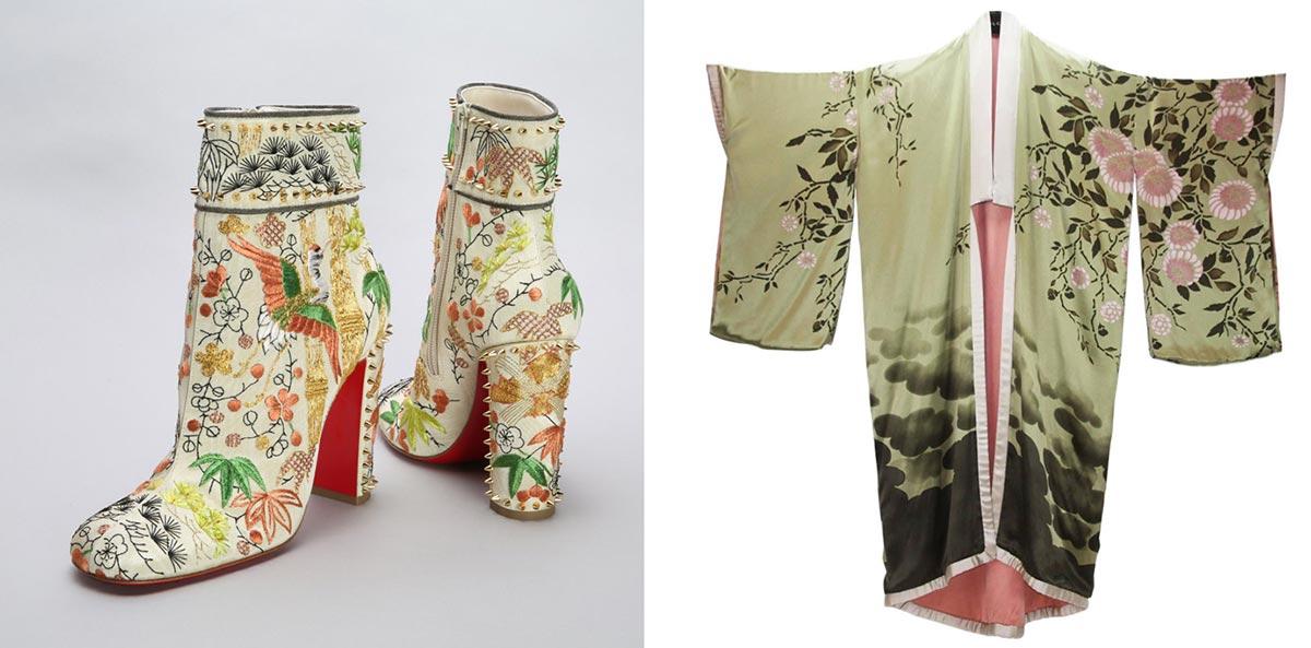 Lịch sử kimono: Trái: Giày bốt Christian Louboutin, Thu Đông 2017. Phải: Áo kimono khoác ngoài bằng lụa. Thiết kế của Tom Ford cho Gucci, Xuân Hè 2003