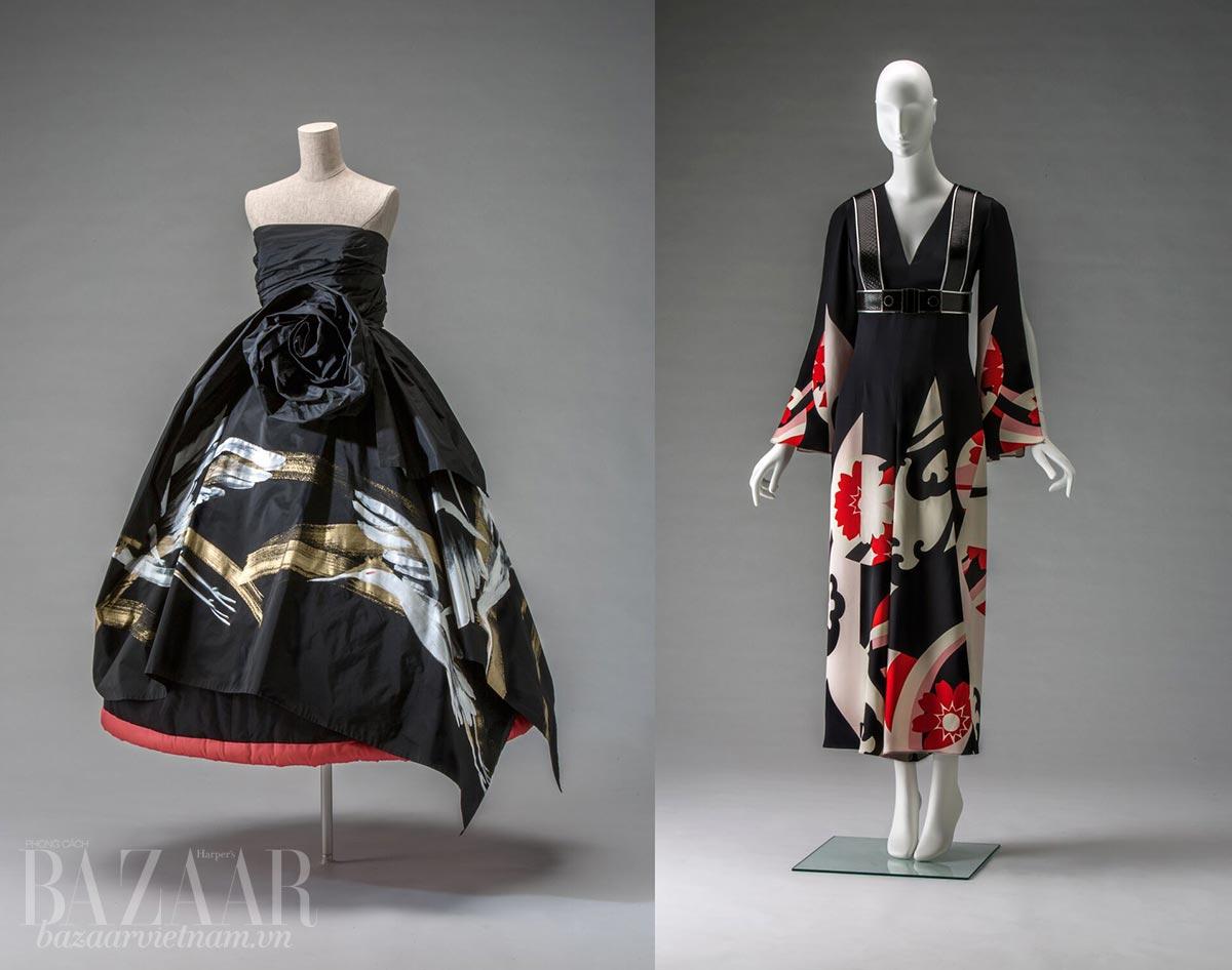 Lịch sử kimono: Trái: Váy dạ hội Rei Kawakubo thiết kế cho Comme Des Garcons, Thu Đông 1991. Phải: Jumpsuit và dây đeo Sarah Burton thiết kế cho thương hiệu Alexander McQueen, Xuân Hè 2015.