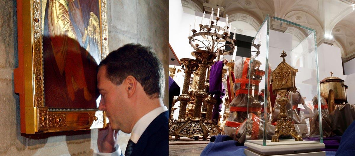 Trái: Một bức tranh cổ trưng bày trong nhà thờ. Phải: Một số tác phẩm nghệ thuật được cứu sau trận hỏa hoạn ở Notre Dame.