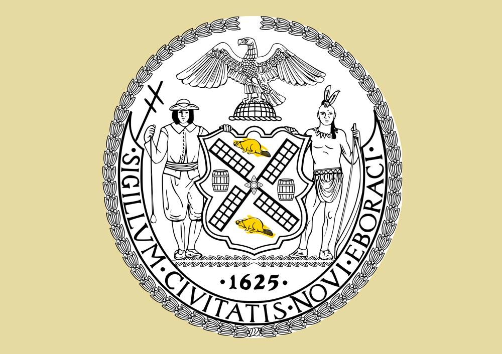 Biểu tượng rái cá trên con dấu chính thức của thành phố New York.