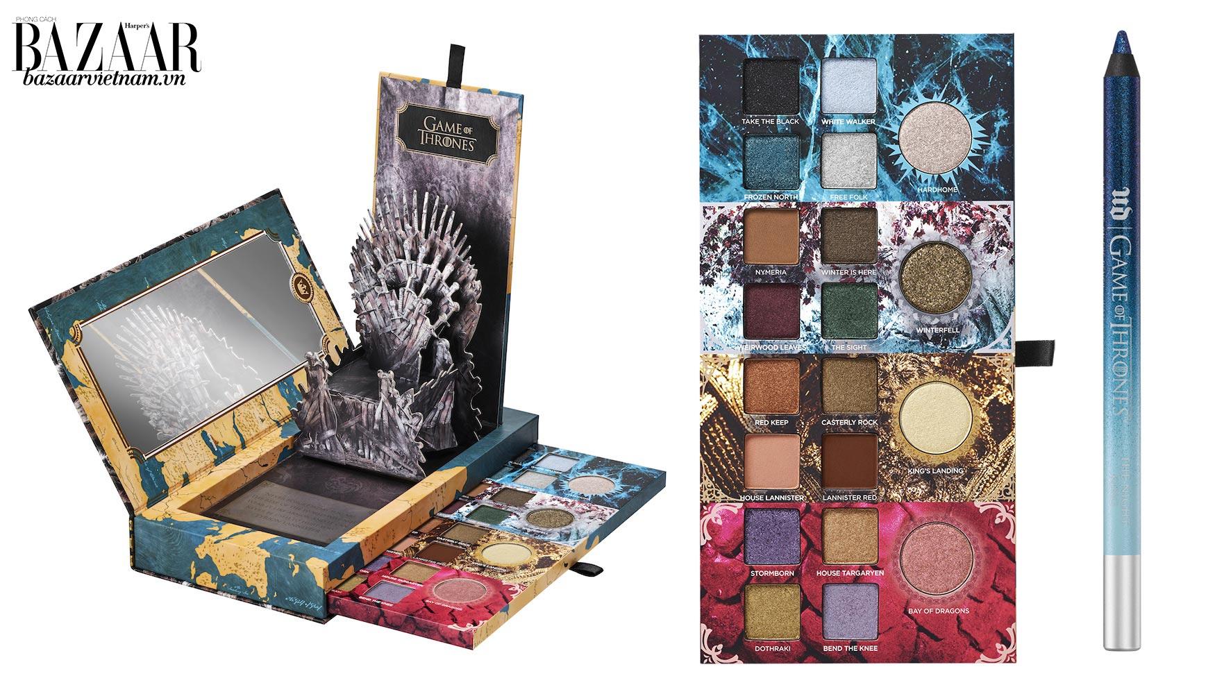 Hộp màu mắt Urban Decay x Game of Thrones với thiết kế Ngôi báu Sắt 3D. Bênh cạnh là chì kẻ mắt The Night King 24/7 Glide-On Eye Pencil.