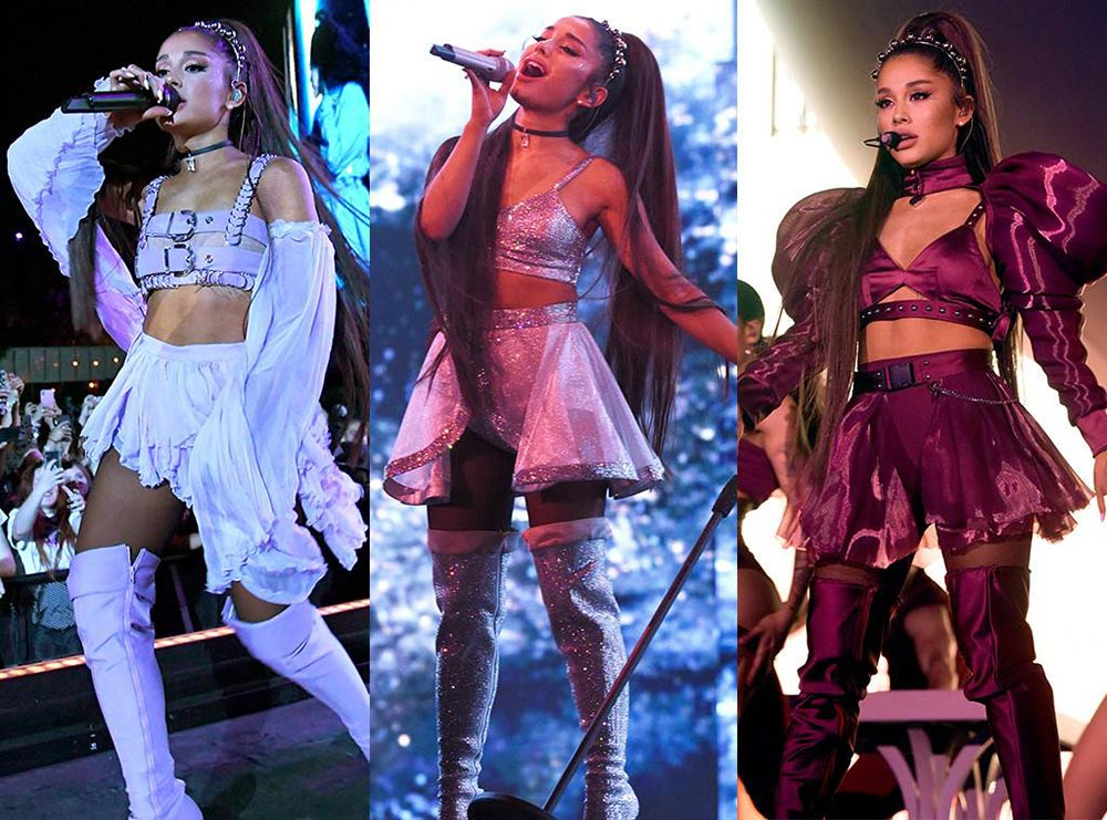 Các trang phục Ariana Grande đã diện khi biểu diễn tại Coachella 2019. Có thể thấy phong cách của cô khá nhất quán. Nguồn ảnh: E!Online