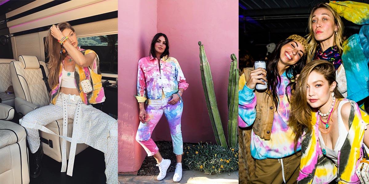 Trái: Gigi Hadid mặc áo vest tie dye của Ganni. Giữa: Một khách tham dự Coachella 2019 diện cả cây tie dye. Phải: Trang phục tie dye tại party của Coachella.