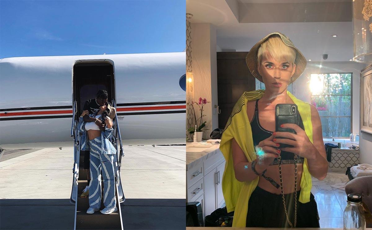 Trái: Kylie Jenner diện nón tai bèo cùng quần baggy. Phải: Katy Perry tự sướng với mũ tai bèo.