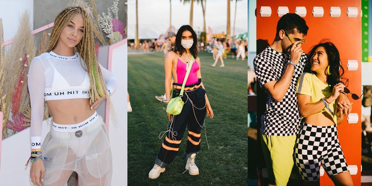 Trái: Jasmine Saunders diện quần cargo xuyên thấu và nội y matchy. Giữa: Áo bodysuit kết hợp với quần cargo. Phải: Bộ đôi diện quần biker và áo thun cặp đôi.