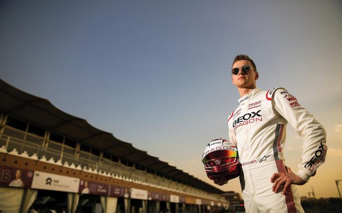 """Maximillian """"Max"""" Günther của đội đua xe Formula E Geox Dragon trong trang phục GEOX"""