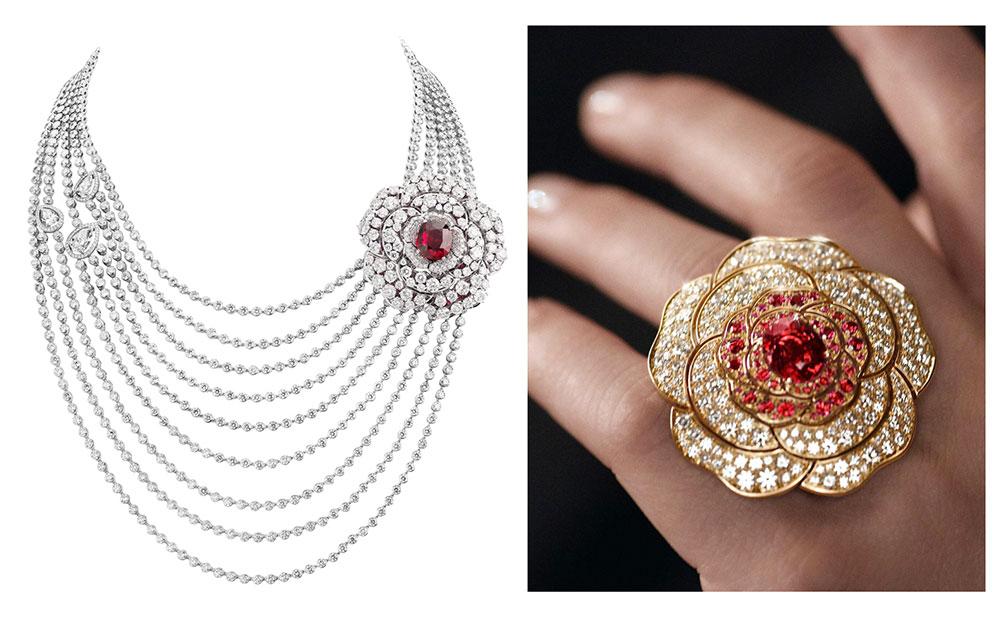 Bộ sưu tập trang sức cao cấp Chanel 1.5, 1 Camellia 5 Allures với đá spinel