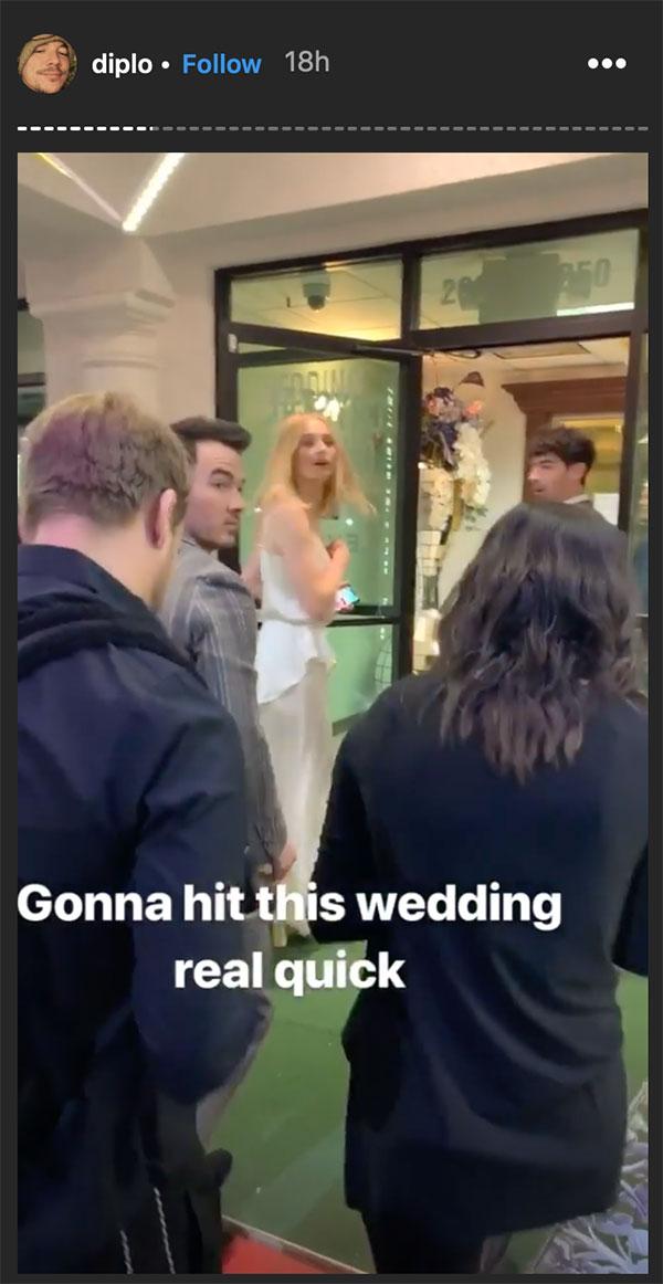 Đám cưới Joe Jonas & Sophie Turner ở Las Vegas, qua Instagram Stories của DJ Diplo. Nguồn: Instagram