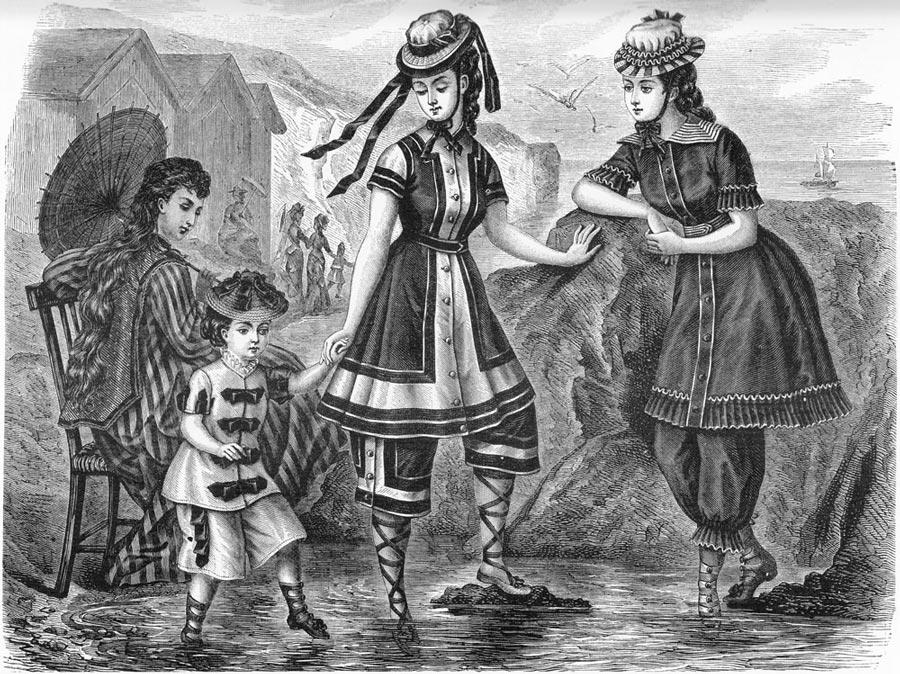 Váy tắm của cuối thế kỷ 19. Hình minh họa trích từ Harper's Bazaar 1876