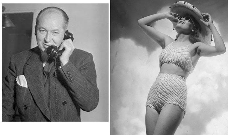 Lịch sử bikini: Nhà thiết kế Jacques Heim (trái) và mẫu áo bơi hai mảnh Atome (phải)