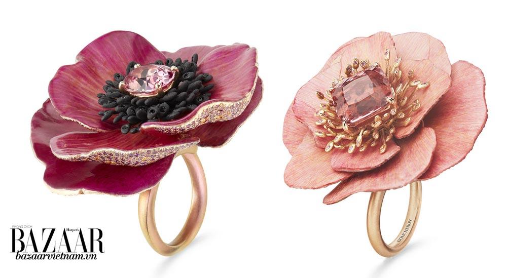 Những chiếc nhẫn Fleur Eternelle của nhà Boucheron. Cùng sử dụng titan, nhưng màu hợp kim mỗi khác ở mỗi nhẫn. Đính kèm là sapphire hồng và topaz.