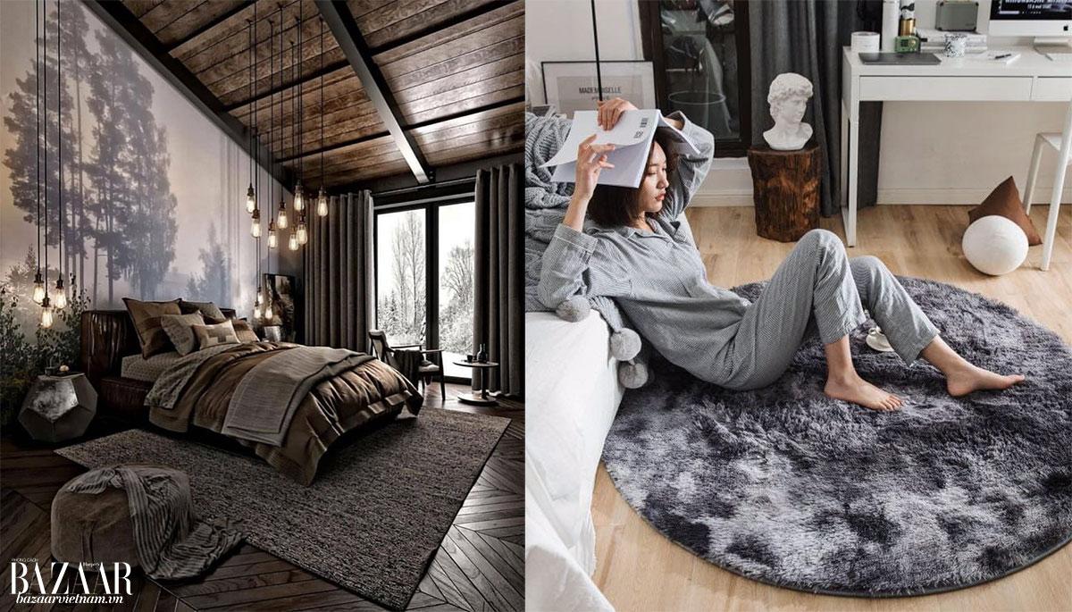Trái: Thảm to phủ hết dưới gầm giường, phù hợp với các phòng ngủ có kích cỡ lớn. Phải: Thảm tròn, xù, mềm mại cho phòng con nít hay phòng ngủ nhỏ.