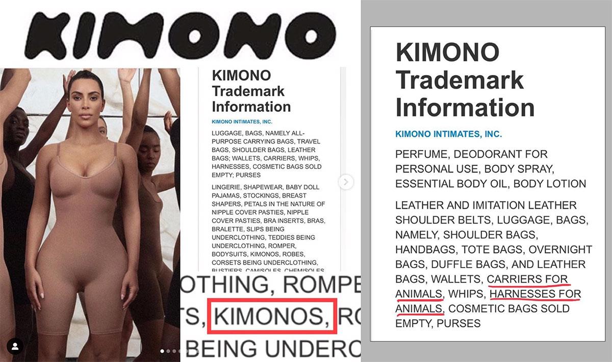 Văn bản cho thấy, công ty Kimono Intimates sẽ dự kiến kinh doanh: nội y, túi xách, hành lý, ROI, DÂY XÍCH CHÓ và cả KIMONO?!
