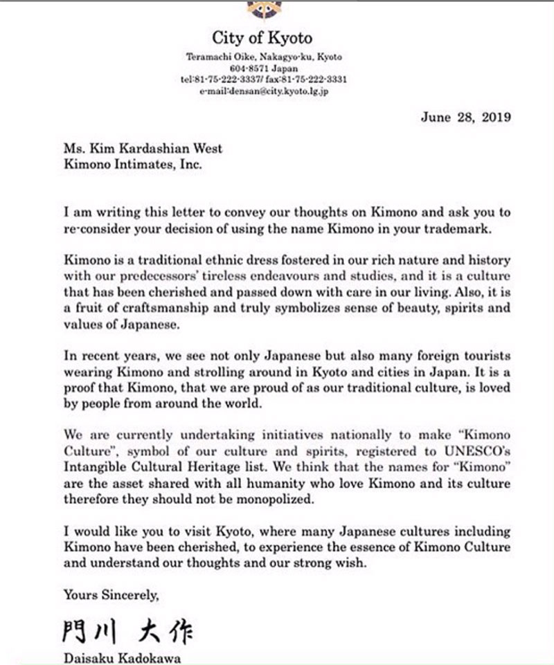 Lá thư từ thị trưởng Kyoto, ông Daisaku Kadokawa, gửi đến Kim Kardashian