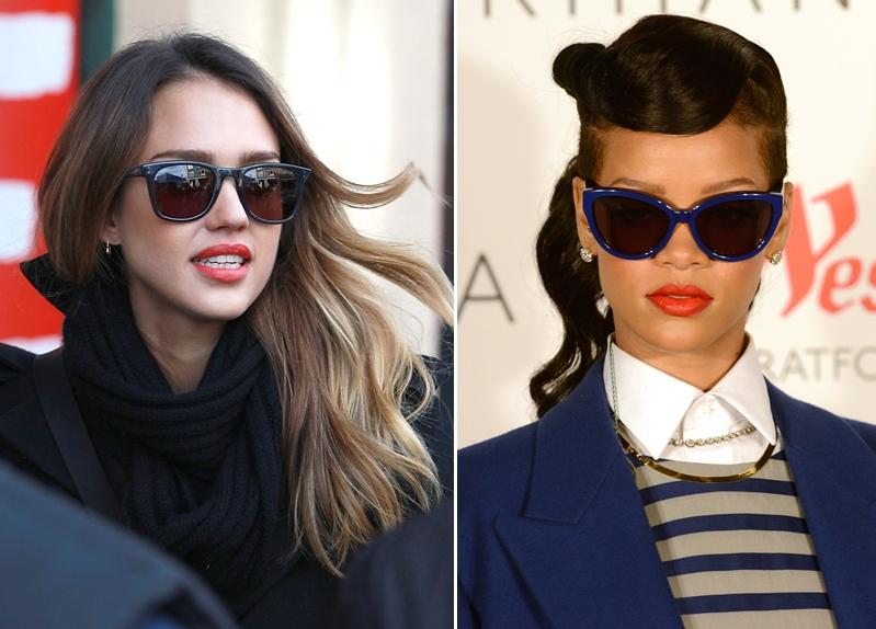 Jessica Alba và Rihanna đều chọn kính mắt mèo bản to