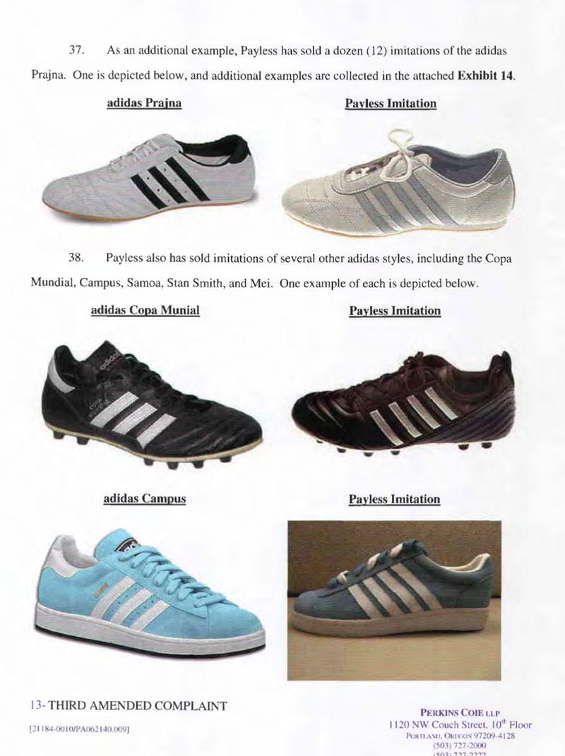Trích dẫn một trang trong văn bản kiện Payless ShoeSource của Adidas. Thương hiệu đã trưng bày chi tiết cho 268 mẫu giày khác nhau.