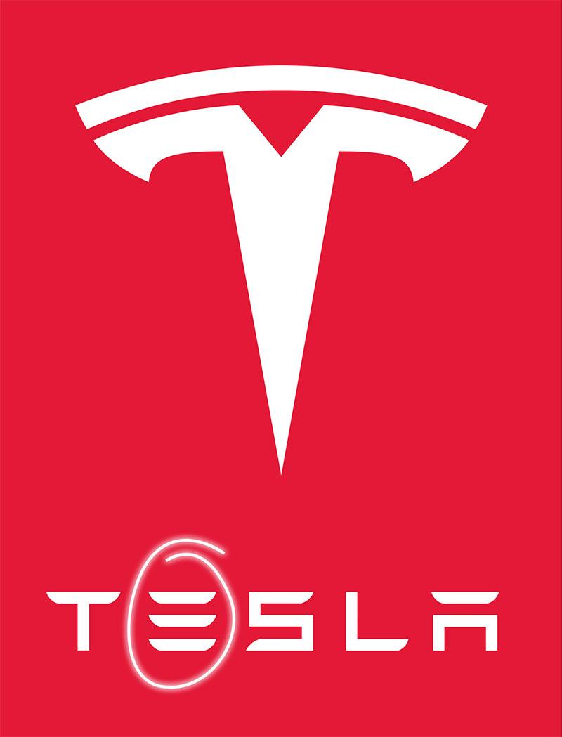 """Thiết kế nguyên bản của logo Tesla có 3 sọc. Tuy nhiên, Tesla đã đổi sang logo chữ T ngay sau khi """"đụng"""" Adidas. Logo 3 sọc cũ trở thành một phần của hàng chữ Tesla nhỏ bên dưới."""