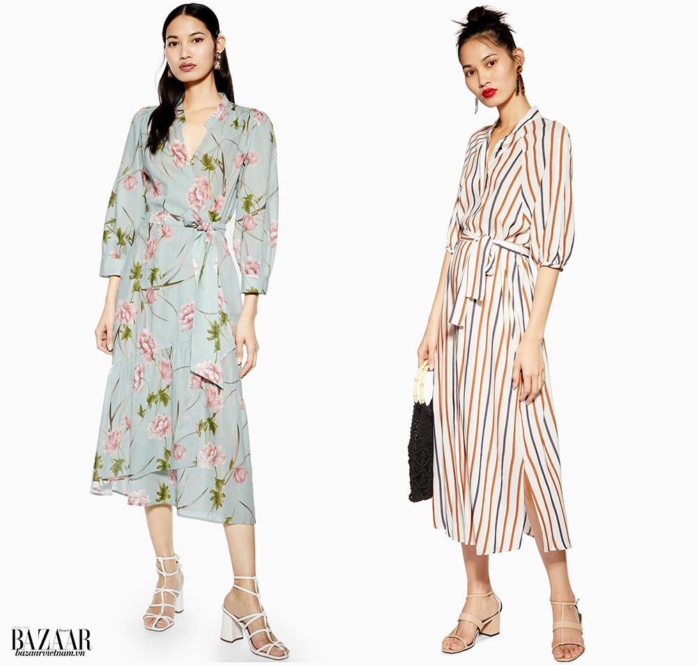 Thời trang công sở mùa hè. Trái: Váy cotton in hoa. Phải: Váy viscose sọc đa sắc. Topshop