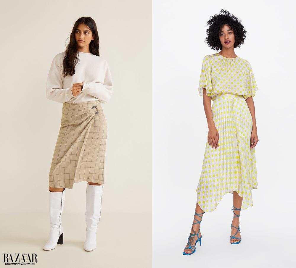 Thời trang công sở mùa hè. Trái: Váy wrap midi Mango. Phải: Váy xếp nếp Zara.