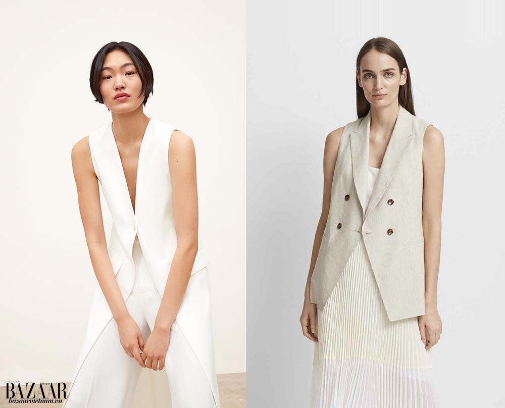 Thời trang công sở mùa hè. Trái: Áo vest dáng dài, Zara. Phải: Áo vest từ linen và viscose, Club Monaco.