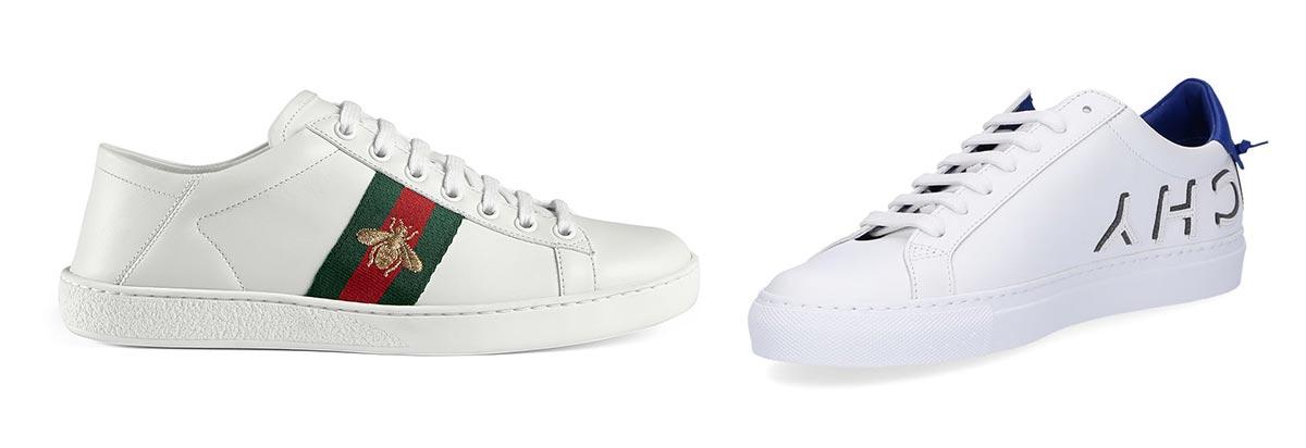 Trái: Giày thể thao bằng da Gucci. Phải: Giày thể thao bằng da Givenchy.