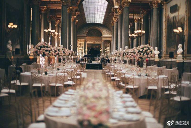 Không gian tiệc tối đám cưới Lang Lang tại sảnh Gallery of Battles
