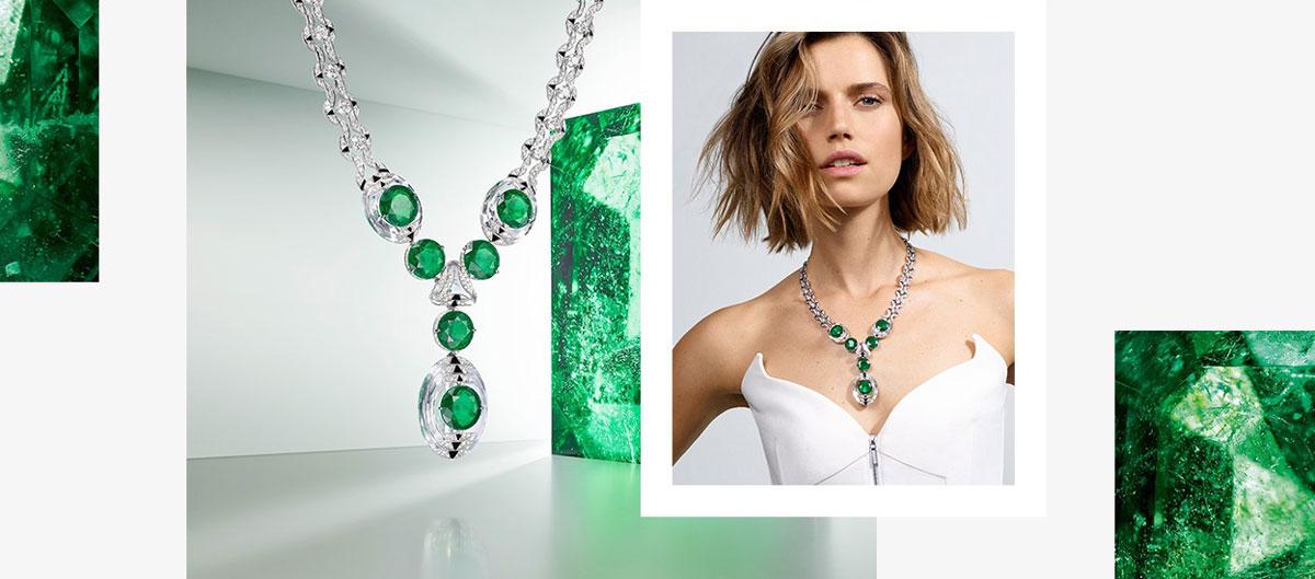 Thiết kế nữ trang Cartier Thèia: Đá ngọc lục bảo xanh mướt đến từ những quặng mỏ Columbia ghép mượt mà với đá thạch anh. Tạo ra hiệu ứng như một trò chơi ghép hình đang chuyển động.