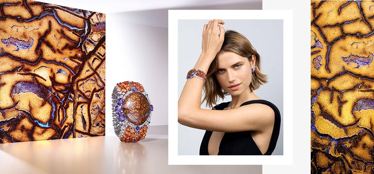 Mẫu Cartier Zemia lấy cảm hứng từ đất mẹ. Mẫu thiết kế trang sức độc đáo nhờ viên opal ma trận (matrix opal) nặng 77.27 carat. Kết nối xung quanh là sapphire, garnet và kim cương.