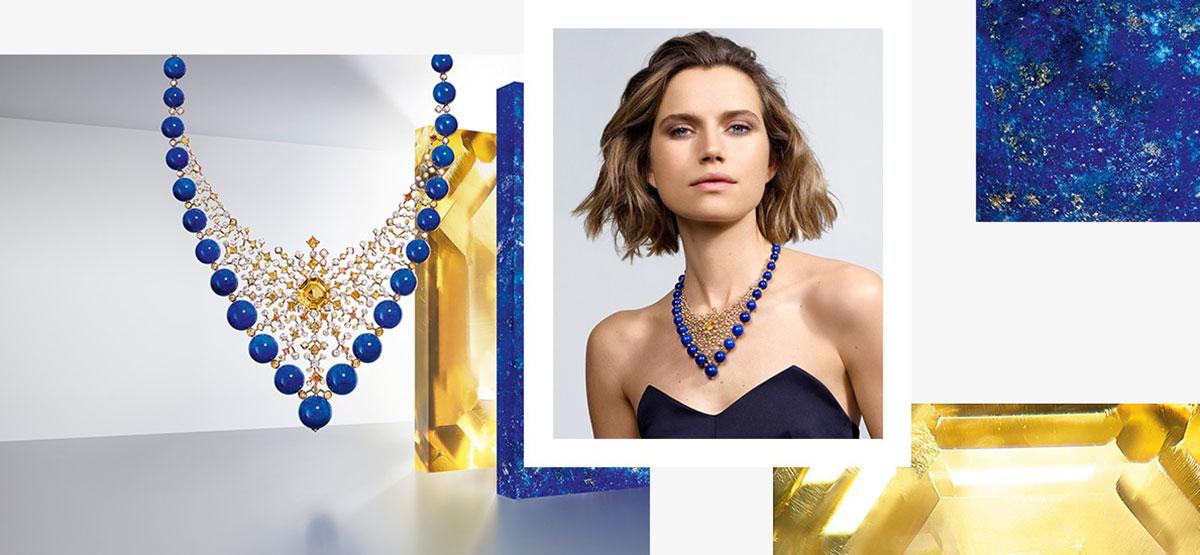 Mẫu Cartier Équionoxe lấy cảm hứng từ bầu trời đêm. Đá lapi lazuli xanh tượng trưng cho nền trời xanh thẳm. Kiến trúc như đan kết ren từ kim cương vàng, cam, và sapphire vàng là những chòm sao của dải ngân hà.